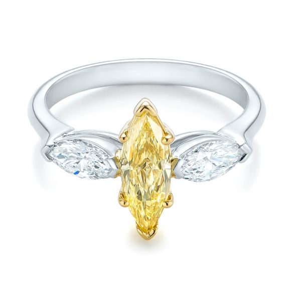 Yellow And White Marquise Diamond Engagement Ring - Flat View -