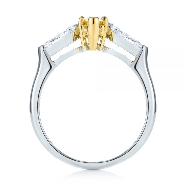 Yellow and White Marquise Diamond Engagement Ring - Front View -  104141 - Thumbnail