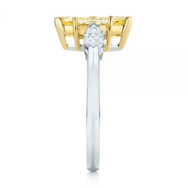 Yellow and White Marquise Diamond Engagement Ring - Side View -  104141 - Thumbnail