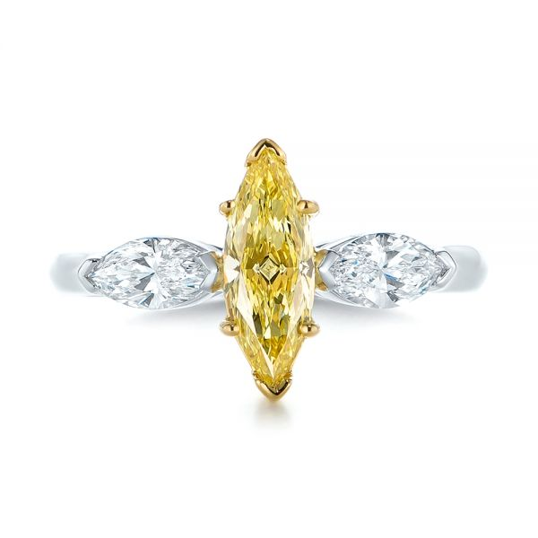 Yellow And White Marquise Diamond Engagement Ring - Top View -