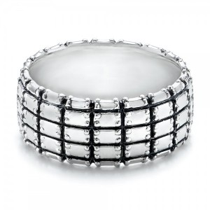 Men's Sterling Silver Brick Band