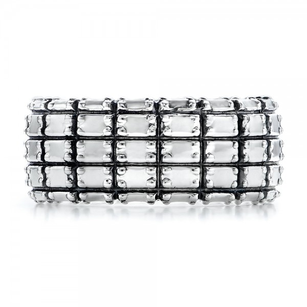 Men's Sterling Silver Brick Band - Top View