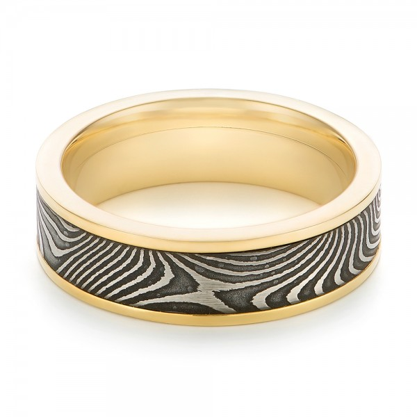 Damascus Steel and Yellow Gold Wedding Band - Flat View -  102940 - Thumbnail