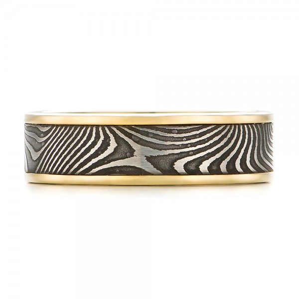 Damascus Steel and Yellow Gold Wedding Band - Top View -  102940 - Thumbnail