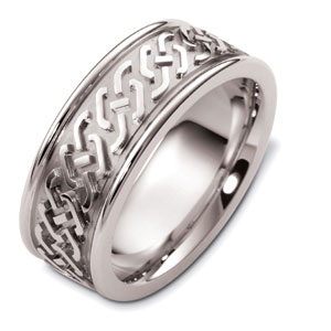 Men's Engraved 18k White Gold Band