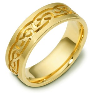 Men's Engraved 18k Yellow Gold Band