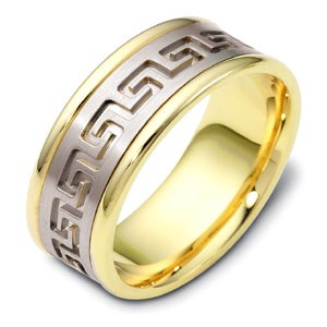 Men's Engraved Two-Tone Gold Band