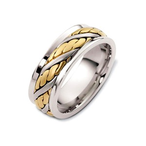 Men's Rope Two-Tone Gold Band