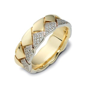 Men's Braided Two-Tone Gold and Diamond Band