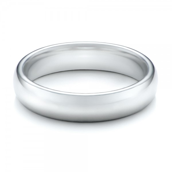 Men's Polished Domed White Tungsten Band - Flat View -
