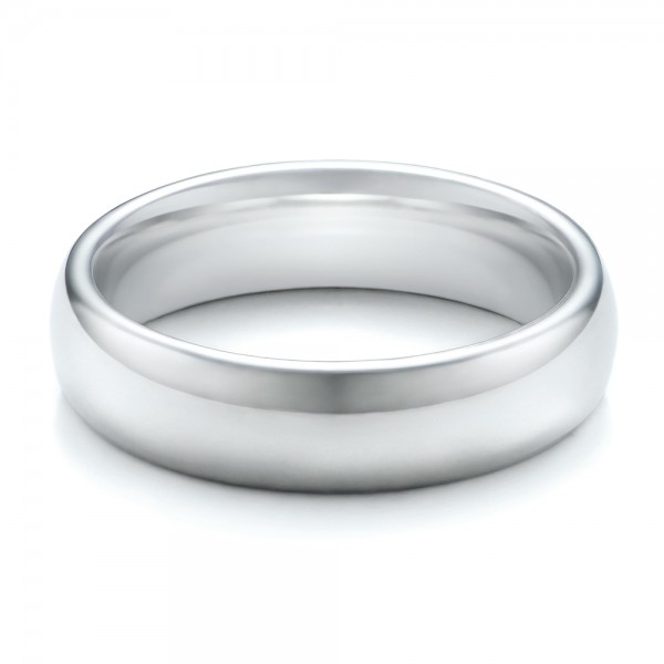 Men's Polished Domed White Tungsten Band - Flat View -  101193 - Thumbnail