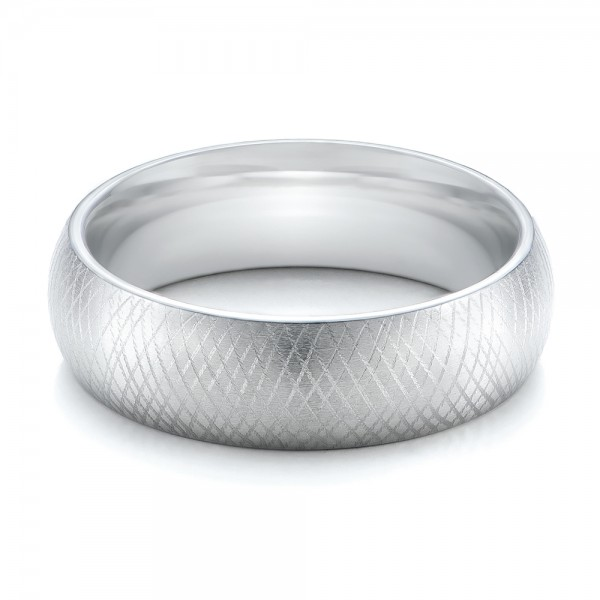 Men's Florentine Finish White Tungsten Band - Laying View