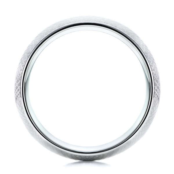 Men's Florentine Finish White Tungsten Band - Front View -  101201 - Thumbnail