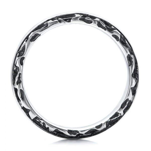 Men's Black And White Sterling Silver Band - Finger Through View