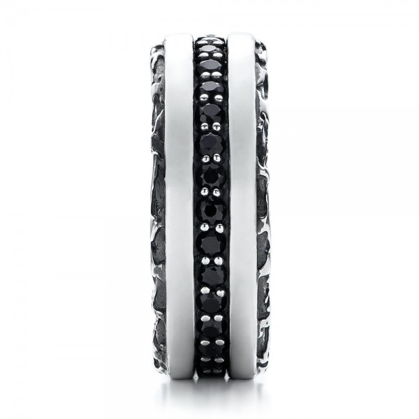Men's Black And White Sterling Silver Band - Side View