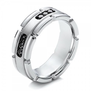 Men's White Tungsten and Silver Band