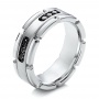 Men's White Tungsten And Silver Band - Three-Quarter View -  101182 - Thumbnail