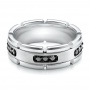 Men's White Tungsten And Silver Band - Flat View -  101182 - Thumbnail