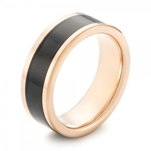Rose Tungsten and Black Carbon Fiber Wedding Band
