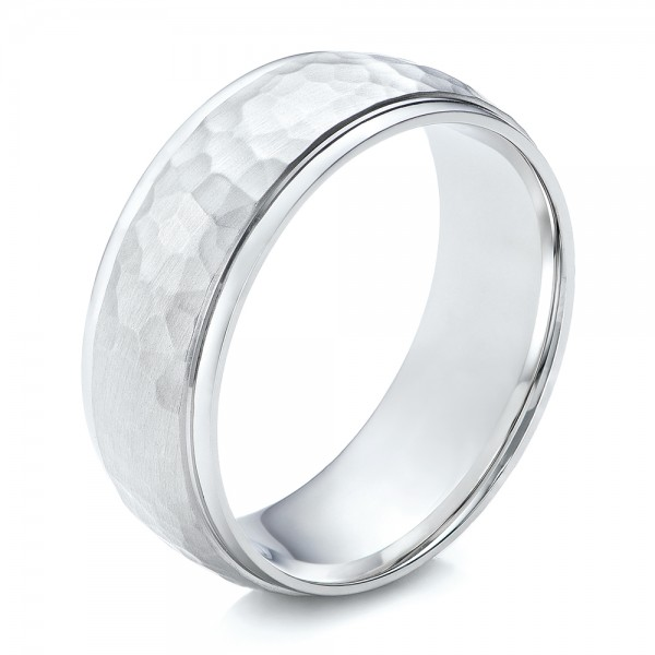 Men's Hammered Finish White Gold Band