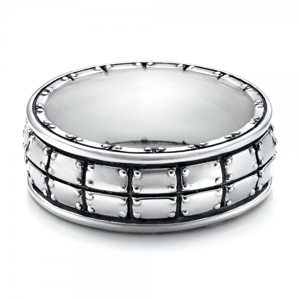 Men's Sterling Silver Brick Band - Laying View