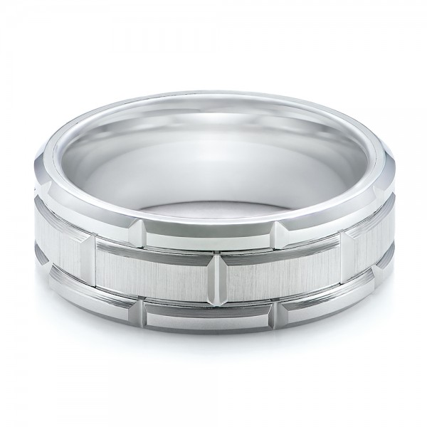 Men's Beveled White Tungsten Band - Laying View