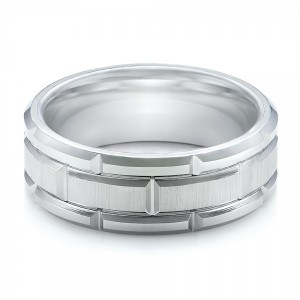 Men's Beveled White Tungsten Band