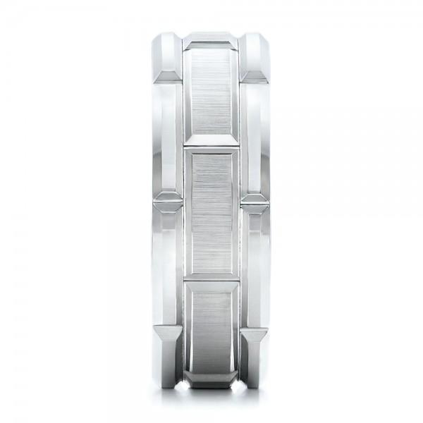 Men's Beveled White Tungsten Band - Side View
