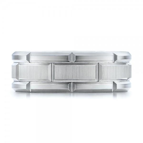 Men's Beveled White Tungsten Band - Top View