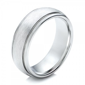 Men's Wire Brushed Finish White Tungsten Band - Image