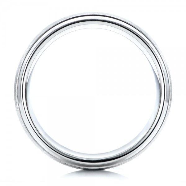 Men's Wire Brushed Finish White Tungsten Band - Finger Through View