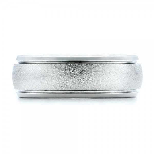 Men's Wire Brushed Finish White Tungsten Band - Top View
