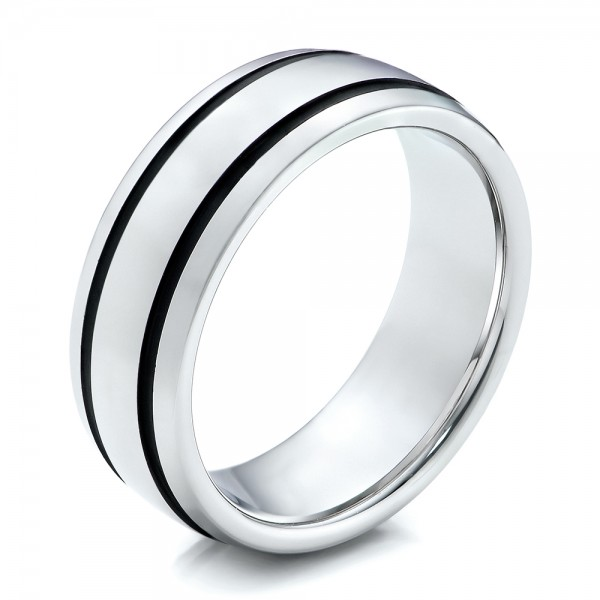 Men's White Tungsten with Black Antique Band