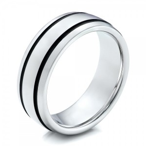 Men's White Tungsten with Black Antique Band - Image