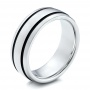 Men's White Tungsten With Black Antique Band - Three-Quarter View -  101200 - Thumbnail