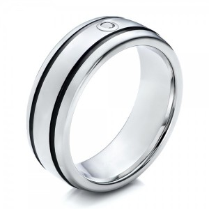 Men's Black and White Tungsten Band