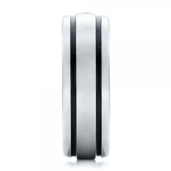 Men's Black and White Tungsten Band - Side View -  101184 - Thumbnail