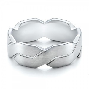 Men's Woven White Gold Band