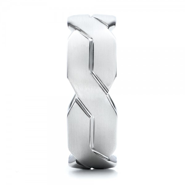 Men's Woven White Gold Band - Side View