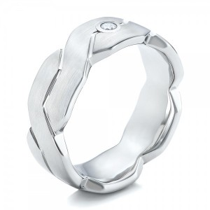 Men's White Tungsten Brushed Woven Band