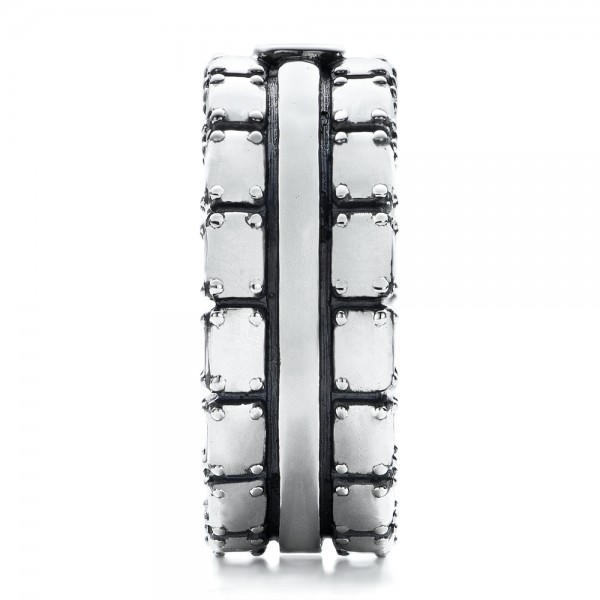 Men's Sterling Silver Brick Band - Side View