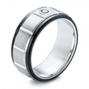 Men's Black and White Brushed Finish Tungsten Band