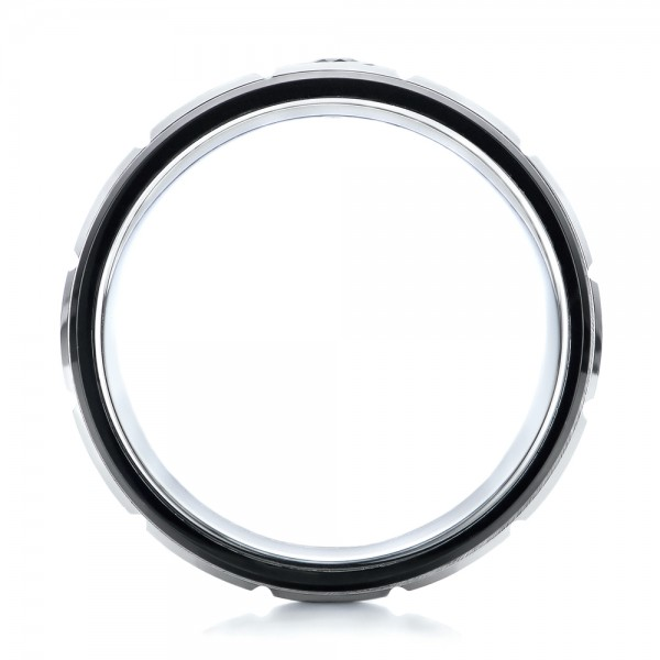 Men's Black and White Brushed Finish Tungsten Band - Finger Through View