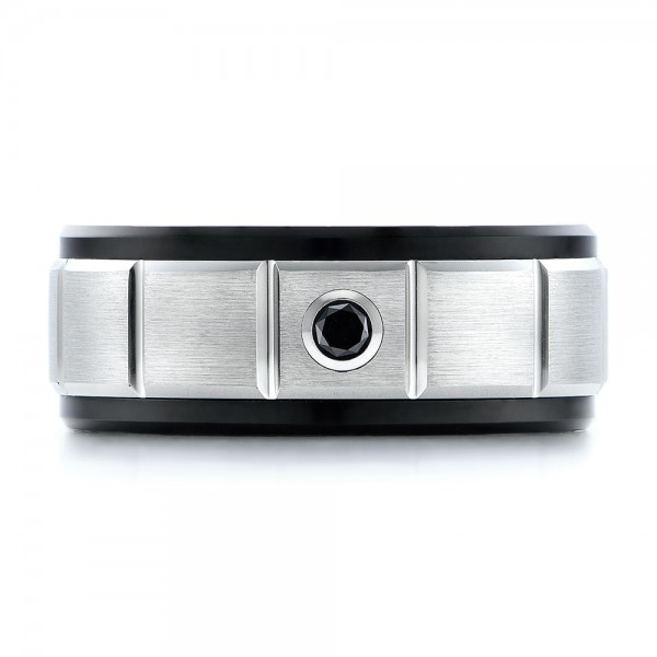 Men's Black and White Brushed Finish Tungsten Band - Top View