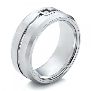 Men's White Tungsten Brushed Finish Band