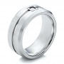 Men's White Tungsten Brushed Finish Band - Three-Quarter View -  101187 - Thumbnail