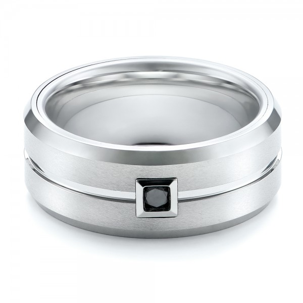 Men's White Tungsten Brushed Finish Band - Flat View -  101187 - Thumbnail