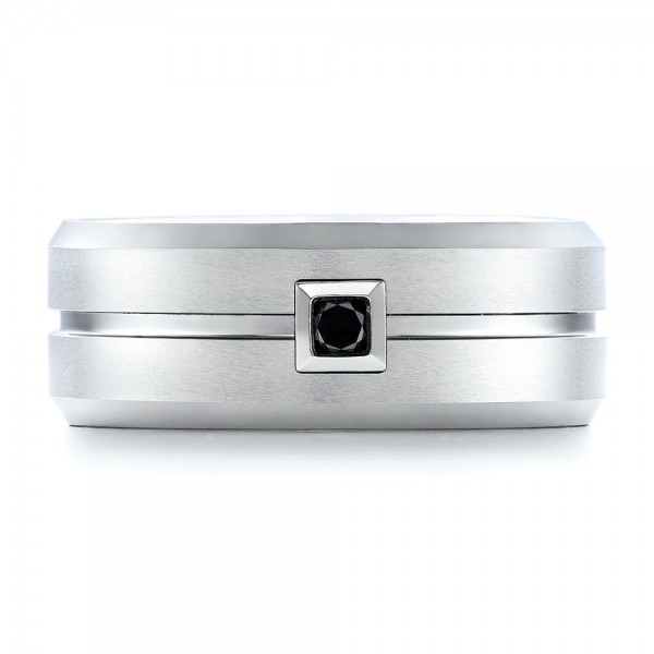 Men's White Tungsten Brushed Finish Band - Top View -  101187 - Thumbnail