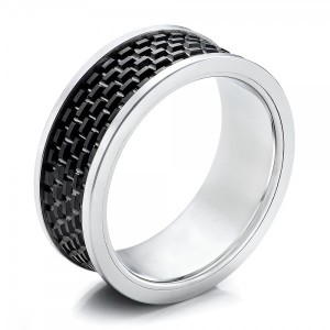 Men's Black and White Tungsten Band - Image
