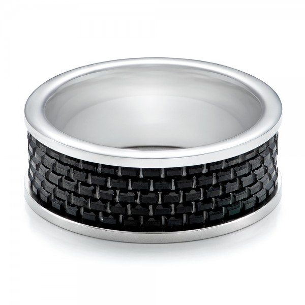 Men's Black And White Tungsten Band - Flat View -